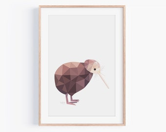 Kiwi Print | Kiwi Illustration | Kiwi Art | New Zealand Kiwi | Geometric Kiwi | New Zealand Art, Kiwiana Art | New Zealand Gift | Kiwi Bird
