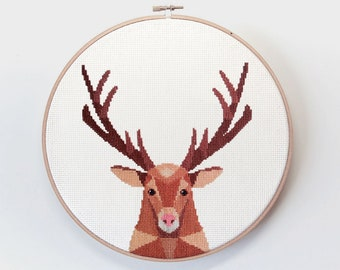 Deer cross stitch art, Deer art, Deer embroidery, PDF cross stitch, Geometric deer, Minimal cross stitch, Stag head cross stitch, Stag art