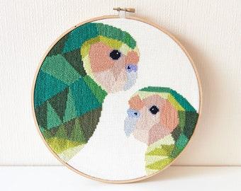 Cross stitch art, Kakapo cross stitch pattern, New Zealand cross stitch pattern, Instant cross stitch pattern, Geometric cross stitch, Kiwi