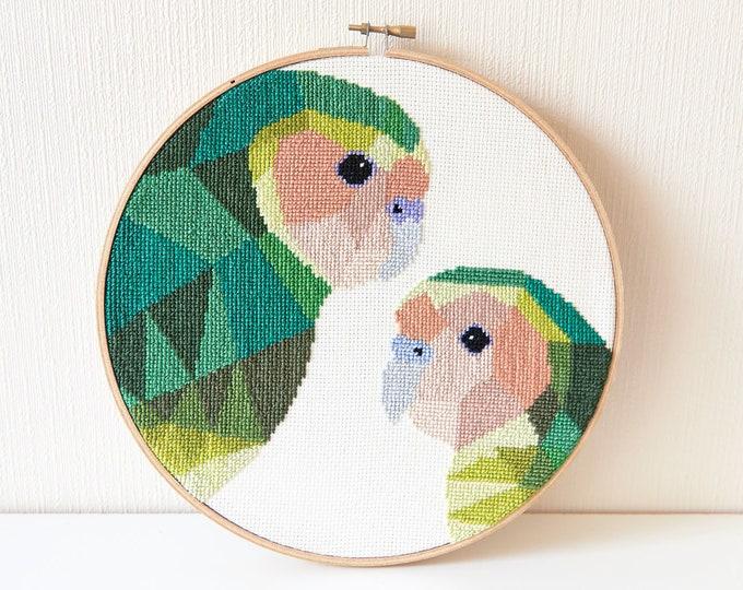 Featured listing image: Cross stitch art, Kakapo cross stitch pattern, New Zealand cross stitch pattern, Instant cross stitch pattern, Geometric cross stitch, Kiwi