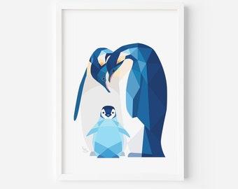 Penguin Print   Nursery Print   Penguin Illustration   Penguin Baby   Nursery Decor   Animal Family Art   Baby Shower Gift   Baby Penguins