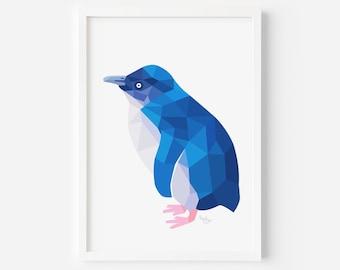 Blue Penguin Print   Little Blue Penguin   Penguin Art   Penguin Illustration  New Zealand Penguin   Kiwi Art   New Zealand Birds   Kiwiana
