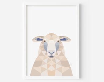 Sheep print, New Zealand sheep, Sheep illustration, New Zealand art, Geometric sheep, Neutral decor, Sheep art, Kiwi styles, Kiwiana gift