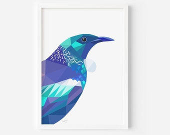 Tui Print | Bird Art | Home Decor | Wall Art | New Zealand Gift | Kiwi Artist | Wildlife Print | Kiwiana | Modern Decor | Minimal Print