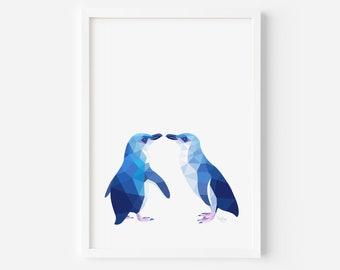 Little Blue Penguin Print | Penguin Illustration | Penguin Art | New Zealand Penguin | Kiwi Art | New Zealand Birds | Kiwiana | Penguin Pair