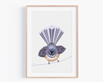 Fantail Print | Piwakawaka | New Zealand Birds | New Zealand Gift | Kiwiana | New Zealand Decor | Kiwi Art | New Zealand Art | Geometric Art