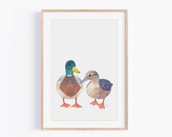 Duck Print | Duck Pair Art | Duck Illustration | New Zealand Birds | Nursery Art | Geometric Duck | Animal wall art | Wildlife Art | Ducks