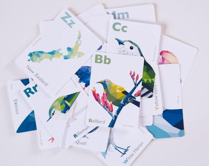 New Zealand ABC cards, Kiwi alphabet, New Zealand birds, New Zealand wildlife, Kiwiana ABC cards, Nursery alphabet, Kiwi flashcards, Kakapo