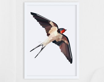 Swallow print, Swallow illustration, Swallow art, New Zealand swallow, Geometric art, New Zealand art, New Zealand gift, New Zealand birds