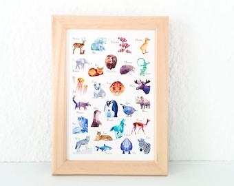 Alphabet print, Nursery decor, Animal ABC print, Alphabet poster, Alphabet art, ABC Print, Nursery art, Nursery alphabet, Kids room decor