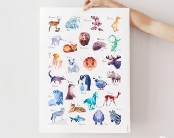 Alphabet poster, ABC print, Alphabet art, ABC kids room art, Geometric abc, Minimal alphabet art, Modern alphabet poster, Letter poster, Art