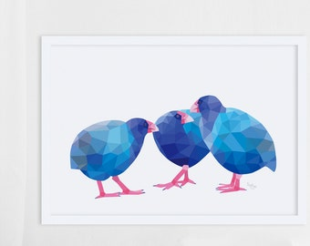Takahe print, Takahe illustration, Takahe poster, Takahe art, Kiwi art, New Zealand native birds, New Zealand birds, Kiwiana gift, Kiwi bird