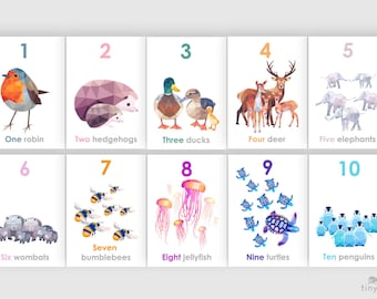 Number art, Counting cards, 123 prints, 123 set, Education wall art, Homeschool art, Homeschool resources, Animal art, Wall art, Letter art
