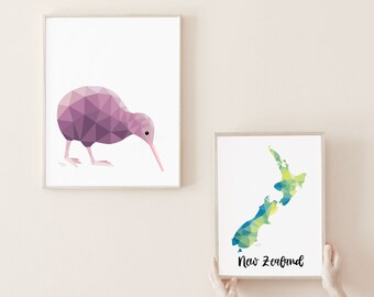 Kiwi illustration, Kiwi print, New Zealand kiwi, Geometric kiwi, Kiwi bird art, New Zealand art, Kiwiana, New Zealand gift, Kiwi painting