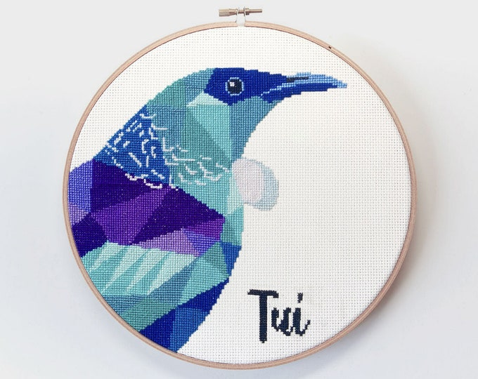 Featured listing image: New Zealand cross stitch, Tui cross stitch, New Zealand wildlife cross stitch, Kiwi cross stitch, Easy cross stitch, New Zealand gift idea