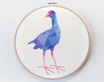 Cross stitch pattern, New Zealand bird cross stitch, Pukeko cross stitch, New Zealand birds, New Zealand cross stitch, Kiwi cross stitch