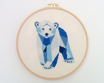 Cross stitch pattern, Polar bear cross stitch, Geometric bear, Bear cross stitch, Nursery cross stitch, Polar bear embroidery, Polar bear
