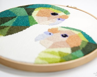 Cross stitch art, Kakapo cross stitch pattern, New Zealand cross stitch pattern, Instant cross stitch pattern, Geometric cross stitch, Kiwi