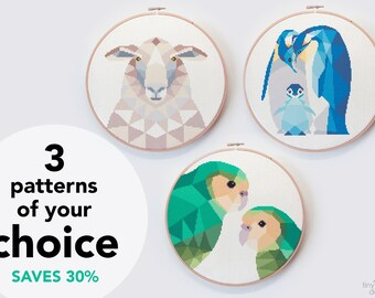 3 Cross stitch patterns, 3 for price of 2, Cross stitch set, New Zealand cross stitch, PDF ross stitch patterns, Geometric cross stitch