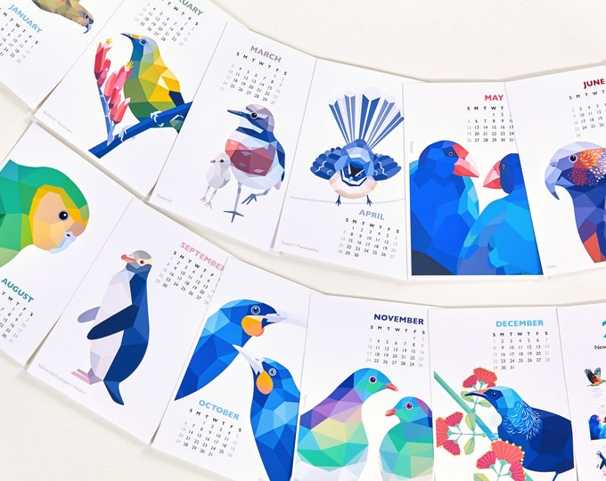 Featured listing image: 2019 wall calendar, New Zealand birds calendar, Art calendar, Geometric calendar, Fantail calendar, Kiwiana, Kiwi, tinykiwi calendar