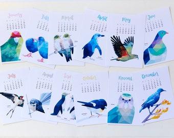 Calendar 2021, New Zealand calendar, Kiwi birds, New Zealand birds, Kiwiana calendar, Kiwi calendar, Tui art, New Zealand art, Kiwi art