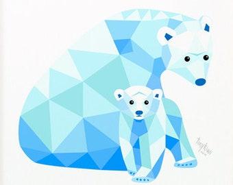 Polar bear print, Polar bear illustration, Arctic nursery art, Geometric polar bear, Polar bear mother and cub, Wall art for children's room