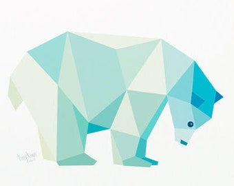 Polar bear print, Polar bear illustration, Polar bear nursery art, Wildlife art, Pastel nursery, Arctic bear, Geometric polar bear, Bear art
