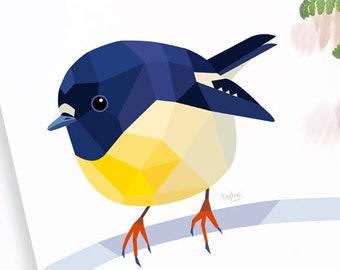 Tomtit illustration, New Zealand tomtit, Miromiro, New Zealand art, New Zealand native birds, Bird wall art, Kiwiana, Simple living art, NZ