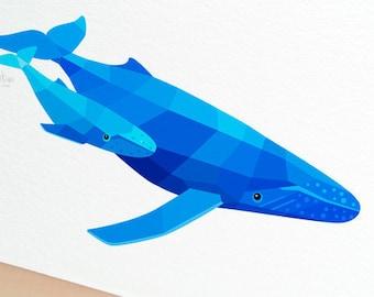 Whale nursery print, Humpback whale decor, Seawall decor, Under the sea, Nautical print, Kids bathroom art, Baby shower gift, Baby whale art