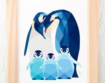 Penguin nursery print, Emperor penguin art, Penguin babies, Cute penguin art, Baby animal decor, Geometric penguin, Animal family wall art