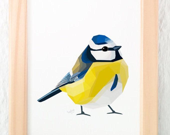 Blue tit art, Modern bird art, Blue tit illustration, Cute bird decor, Art for the lounge, Bird lovers, Bird art, Summer art, British birds