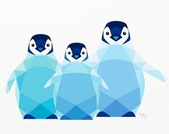 Baby penguin nursery art, Cute penguin print, Penguin illustration, Emperor penguin art, Baby animal decor, Baby nursery art, Animal sibling
