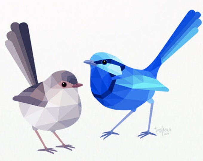 Blue wren illustration, Fairy wren pair print, Australian wren art, Wren lovebirds, Australian home decor, Bird art, Minimal animal art