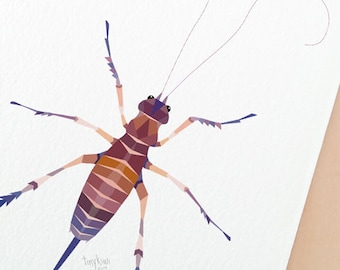 Weta insect print, Weta painting, Weta wall art, New Zealand Weta, Kiwi wildlife, Kiwiana animals, Geometric print, Giant weta, Insect art