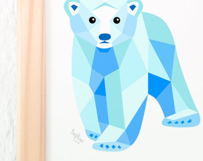 Polar bear baby nursery print, Baby polar bear art, Polar bear illustration, Polar bear nursery art, Baby nursery art, Geometric polar bear