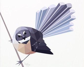 Fantail illustration, Piwakawaka art, Fantail print, New Zealand fantail, New Zealand art, New Zealand wildlife, Kiwiana, Kiwi souvenir