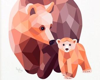 Bear illustration, Mother bear art, Baby bear decor, Bear nursery art, Children's bear art, Cute bear art, Kids bear art, Minimalist nursery
