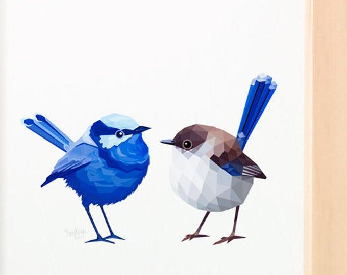 Superb fairy-wren pair print, Blue wren print, Australian wren birds, Wren lovebirds, Australian bush birds, Australian gift for partner