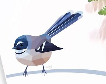 Fantail print, New Zealand fantail, New Zealand native birds, New Zealand artist, Kiwiana, Kiwi gift, Made in NZ, Kiwi art, NZ home decor