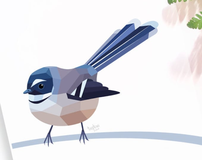 Fantail print, New Zealand fantail, New Zealand native birds, New Zealand artist, Kiwiana, Kiwi gift, Made in NZ, Kiwi art, NZ home decor