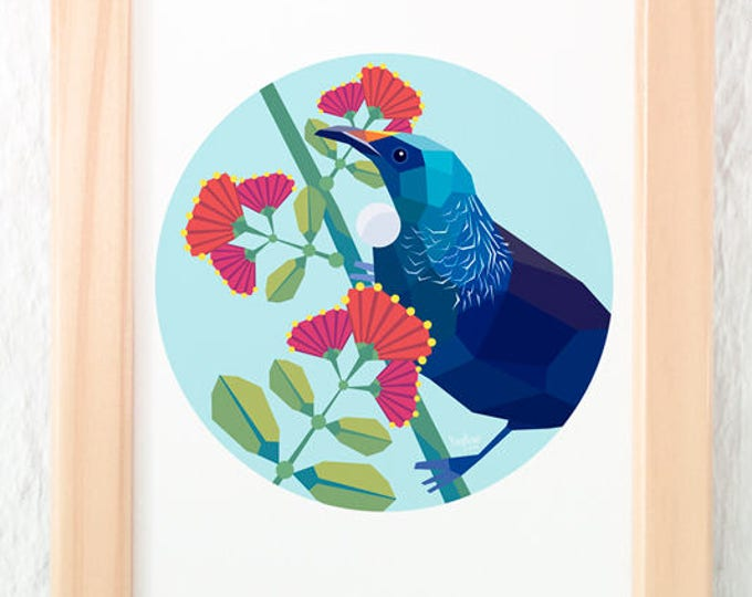 Tui on pohutukawa flowers, Kiwi art, New Zealand tui, New Zealand artist, Geometric print, Circle art, Flora and fauna art, Bird wall art