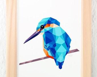 Kingfisher print, Geometric kingfisher, Bird art, Beautiful bird, Turquoise blue print, Large animal print, European birds, tinykiwi art