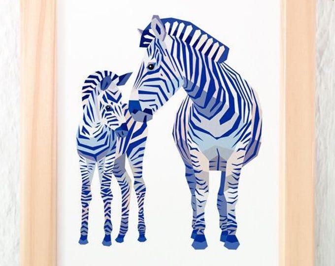 Zebra mother and baby print, Zebra illustration, Mother and child art, Safari animals, Savannah wildlife, Nursery animal art, Baby animal