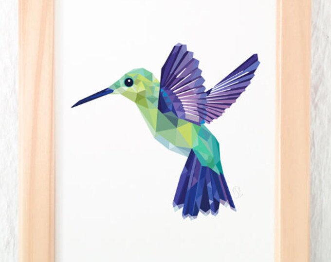 Hummingbird print, Flying hummingbird illustration, Geometric logo, Amazon birds, Jungle animals, Emerald green print, Purple green art