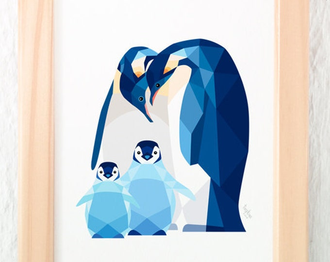 Penguin family art, Penguin babies, Toddler nursery art, Animal family art, Baby nursery decor, Geometric penguin, Baby animal art, Brothers