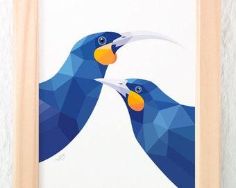 Huia pair print, Huia bird art, Kiwi, Extinct bird, Kiwi art, New Zealand birds, New Zealand artist, Geometric print, Flora and fauna art,