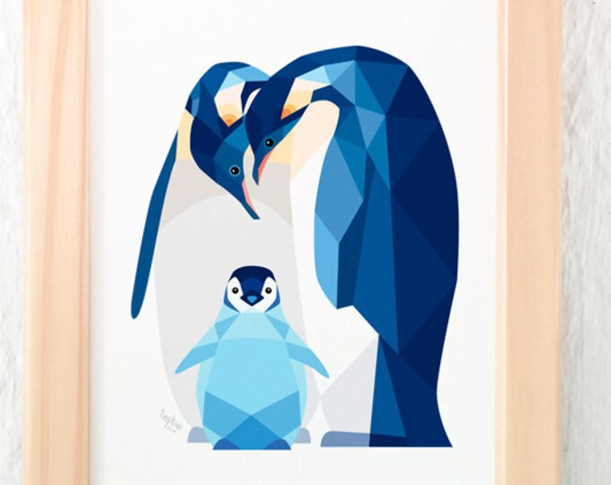 Penguin nursery print, Penguin baby art, Nursery decor, Animal family art, Baby nursery wall art, Baby animals, Arctic animals, New baby art