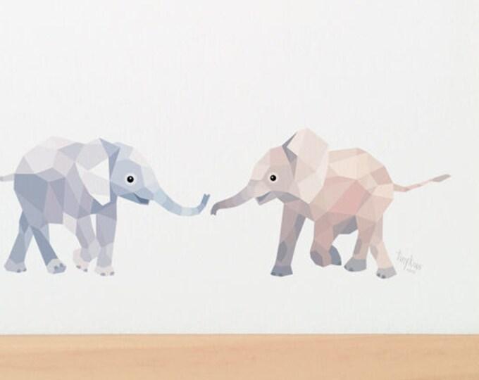 Baby elephants illustration, Elephant print, Elephant art, Geometric print, Cute baby art, Baby bedroom art, Nursery animals, African theme
