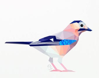 Eurasian jay art, Jay art, Forest wildlife art, Bird decor, Bird art, Ornithology print, Eichelhaher, Natural history print, Feathers print