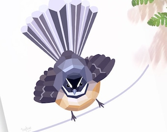 Fantail print, New Zealand bird, Kiwi bird art, Fantail bird, New Zealand art, Piwakawaka, Tinykiwi prints, Kiwiana, Tui art, Native birds